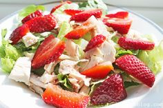 clean eating salad: strawberry turkey salad with pear champagne dressing