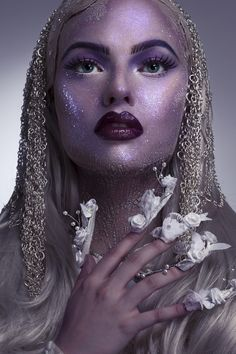 The Good Inspired by Tim Burton. Creative Halloween Make-up for Front Cover of the Make-up Artist Magazine by Karla Powell   Witch make-up, glitter makeup, bold lips,lip art