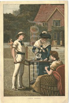 Victorian tennis and tea on lawn Circa 1880.