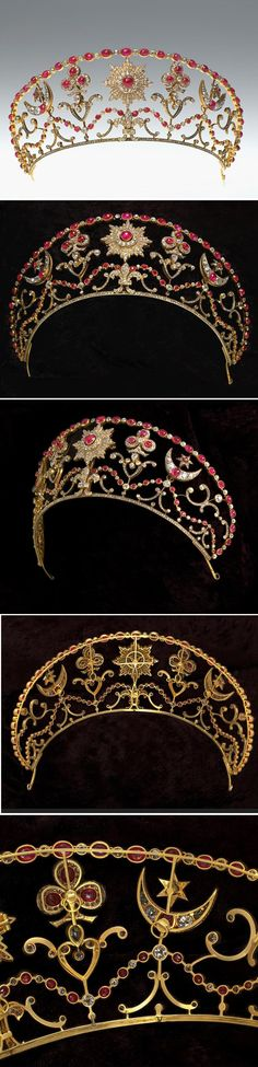 IMPERIAL RUSSIAN TIARA by BOLIN 1890~ Kokoshnik style in gold, with rubies and diamonds. Originally made for Grand Duchess Sophie, wife of Grand Duke Michael Mikhailovich. Later, known as the Milford Haven Tiara, UK.