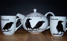 Teaset hand painted china personalised to by TattooTeaLady on Etsy, £45.95