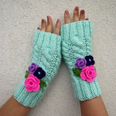 KNITTING PATTERN Fingerless Mittes Gloves with by LiliaCraftParty