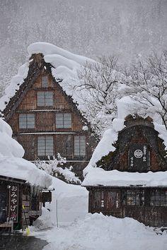 Snowy village, Shirakawagō, Japan