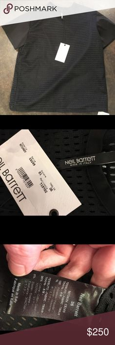 """Neil Barrett black boxy perforated Top 38 2-6 This is very cool sturdy and wearable... Love! Shoulder zips length 23"""" bust 40. No trades price is firm I will not respond to offers Neil Barrett Tops Tees - Short Sleeve"""