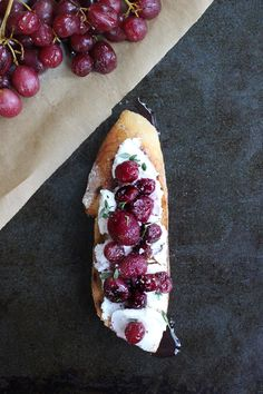 Winter Crostini - Roast red grapes , Drizzle with olive oil and pair with fresh ricotta, pepper and thyme.