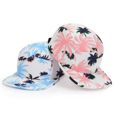 2014 New Fashion 5 Panel Camp Hat Pink Blue Palm Tree Cadet Baseball Cap Goldtop #Goldtop #BaseballCap