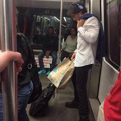 He's so cute riding the subway 14/7/15