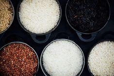 Types of Rice, clockwise from top left: Brown basmati, white basmati, wild basmati, Indian red rice, ponni rice, idli rice. Photo: Nik Sharma