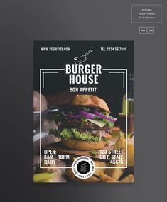 Posters burger house by amber graphics on creativemarket down east magazine february 2016 Food Graphic Design, Food Poster Design, Food Menu Design, Graphic Design Posters, Menu Restaurant, Restaurant Vintage, Crea Design, Design Design, Burger Menu