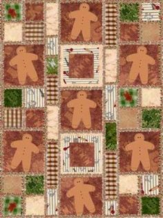 This is Not a Photo, its a Rendition of The Rag Quilt I Designed 1st in Photoshop, then to Graph Paper, Then I Cut, Sewed, and Quilted This Gingerbread Quilt for My Daughter & Her Family.
