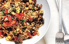 Low Calorie Lunch - Tex-Mex Black Bean And Rice Bowl