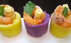 purple and Yukon potato cups Peruvian Cuisine, Peruvian Recipes, Seafood Shop, Shrimp Appetizers, Comida Latina, Creative Food, Food Presentation, Food Plating, My Recipes