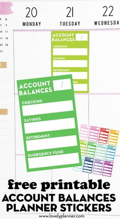 Free Printable Account Balances Planner Stickers to keep tracker of your budget and savings in your planner. #freeprintable #Printable #plannerstickers #stickers #Lovelyplanner #budget