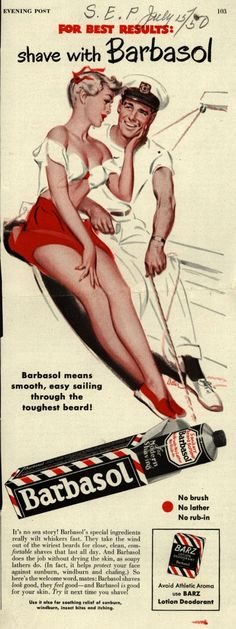 advertising of shaving foam - pubblicità anni 50 della schiuma da barba 1950s Advertising, 1950s Ads, Old Advertisements, Retro Ads, Brand Advertising, 1960s, Images Vintage, Vintage Ads, Vintage Prints