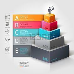 3 d の階段図の近代的なビジネス ステップのオプション。