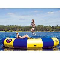 $3,588.00 (CLICK IMAGE TWICE FOR UPDATED PRICING AND INFO) Rave Sports - 00200 - Aqua Jump 20 Inflatable Water Trampoline - Blue & Yellow - 20 ft. Diameter. See More Inflatable Boat Towables at http://www.zbuys.com/level.php?node=3978=inflatable-boat-towables