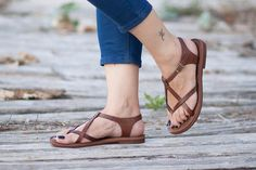 10 Off Leather Women Sandals Brown Sandals Summer by BangiShop, $62.00  https://www.etsy.com/listing/196490012/10-off-leather-women-sandals-brown?ref=sr_gallery_11&ga_order=date_desc&ga_view_type=gallery&ga_ref=fp_recent_more&ga_page=14&ga_search_type=all