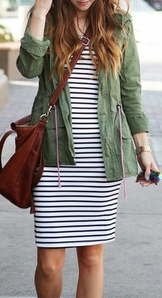summer outfits  Striped Bodycon   Army Green Jacket