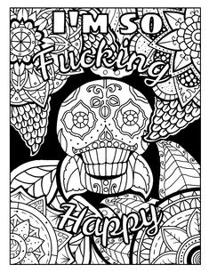 Coloring Page For Adults With Skull And Swears Visit To Discover More Swear Word