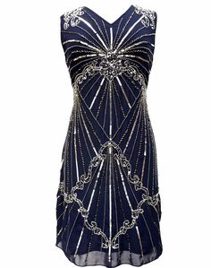 Blue Vintage 1920s Flapper Gatsby Downton Abbey Fringe Beaded Dress Size 8-24 #LIVE2LOVE #Shift #Casual
