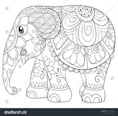 Elephant coloring page, Adult coloring page, Elephant illustration, Dragon color. Free Adult Coloring Pages, Mandala Coloring Pages, Animal Coloring Pages, Coloring Book Pages, Elephant Art, Cute Elephant, Dot Painting, Fabric Painting, Watercolor Painting
