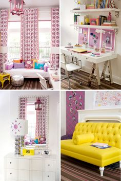 Amanda Nisbet purple teen bedroom (I would love the yellow couch for myself)