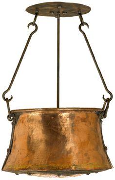 repurposed copper pan becomes ceiling lamp