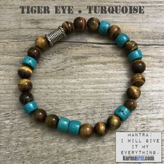 Turquoise is a gemstone that provides protection, grounding, strength, courage, love and luck.  Turquoise is also a token of friendship. Perhaps it's strongest ability is for alleviating negativity. Many Indian tribes associate Turquoise with fertility......mens yoga mala bracelet womens chakra meditation beaded charm stacks. Tiger eye turquoise.