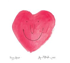 Happy Heart by Quentin Blake Quentin Blake Illustrations, Michael Rosen, Howls Moving Castle, Hair Raising, Fake Love, Roald Dahl, Happy Heart, Pen And Paper, Red And Grey