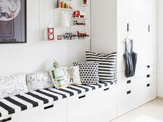Scandinavian play room with IKEA STUVA closet + bench