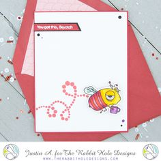 This project uses the Caffeinated- Bee set, Sassy Sentiments set, and Dotted Flower stencil by The Rabbit Hole Designs. Check out my blog for more details!