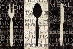 Kitchen Words Trio Fine-Art Print by Pela Design at UrbanLoftArt.com