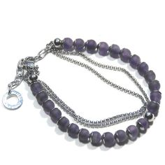 Items similar to Amethyst friendship bracelet with stainless steel beadcaps, spacers, chain & clasp on Etsy Handmade Jewelry, Unique Jewelry, Handmade Gifts, Easy Wear, Friendship Bracelets, Amethyst, Beaded Necklace, Stainless Steel, Chain