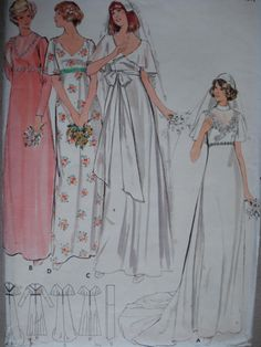 1970s EMPIRE WAIST BRIDAL DRESS WEDDING GOWN PATTERN