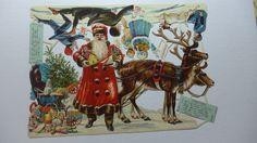 Antique Victorian German Die Cut Santa Claus Full Sheet