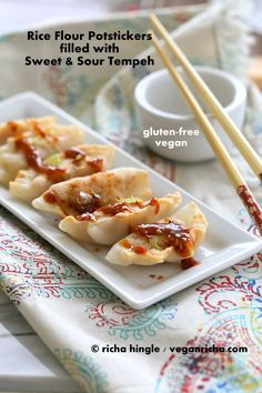 Gluten-free Potstickers filled with Sweet & Sour Tempeh and Celery. Vegan Gum-free Recipe