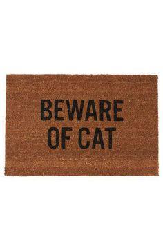 Beware of Cat Door Mat