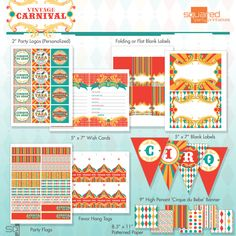 DIY Vintage Circus Carnival Printables- could use these templates for so many things at Linda's shower!