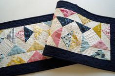 Spring Colors Quilted Patchwork Table Runner in by MyBitOfWonder
