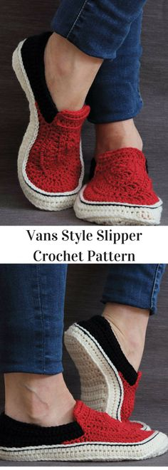 Vans Style Slipper Crochet Pattern- Available for Download after Purchase - Crochet Patterns #ad