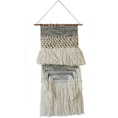 """Macrame Wool Blend Wall Decor - 19"""""""" x 28"""""""" (£46) ❤ liked on Polyvore featuring home, home decor, wall art, grey, vintage home decor, gray wall art, grey wall art, vintage home accessories and macrame wall art"""