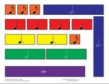 Rhythm block print-outs to teach note values. This is great.