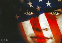 Patriotic - USA Flag Painted on a Face by 9teen87's Postcards, via Flickr