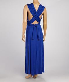 Loving this Royal Blue V-Neck Maxi Dress on #zulily! #zulilyfinds