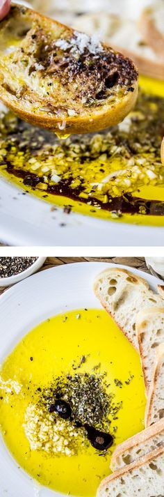 Restaurant-Style Olive Oil and Balsamic Bread Dip from The Food Charlatan // No appetizer beats bread, olive oil, and balsamic vinegar that's been jazzed up with some spices and garlic!