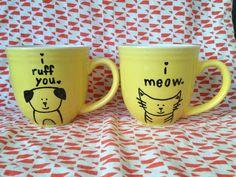 Valentines Day Gift Idea Cat and Dog Mug Set by ThisNThatbyAli on Etsy, $21.00