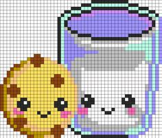 Kawaii Cookieand Milk Perler Bead Pattern