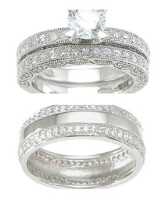 His Her Matching 3pcs Engagement Wedding Ring Set uniquewedding