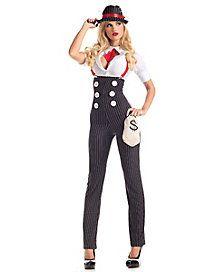 Heist Hottie Gangster Adult Womens Costume – Spirit Halloween from Spirit Halloween. Saved to Halloween ideas👻🎃. Gangster Outfit, Mafia Outfit, Gangster Costumes, Girl Costumes, Adult Costumes, Costumes For Women, Costume Ideas, Gangster Party, Spirit Halloween Costumes