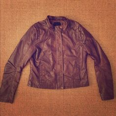 Jack by BB Dakota Faux Leather Jacket Brown faux leather jacket from Jack by BB Dakota. Really cute, gently worn but in excellent condition! Open to offers! Jack by BB Dakota Jackets & Coats Utility Jackets